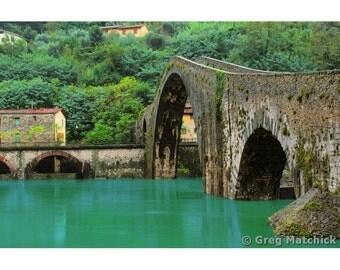 """Fine Art Color Landscape Photography of Old Stone Bridge in Tuscany - """"Ponte Della Maddalena"""""""