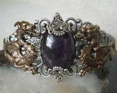 Amethyst Dragon Cuff Bracelet, renaissance jewelry medieval jewelry dragon jewelry fantasy gothic edwardian victorian tudor viking norse