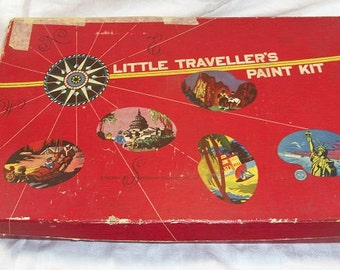 "Vintage Antique Little Traveller's Paint Kit for Children 1940 A ""Gold Medal"" Toy Transogram Company"