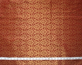 red and gold brocade fabric indian fabric red and gold fabric red brocade - br130 - 1 yard