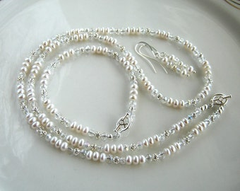 Petite White Freshwater Pearl Necklace Set with Matching Pearl Bracelet and Pearl Earrings  (24.4 Inches)