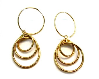 14K Yellow Gold Medium Hoop Dangle Drop Down Earrings Gift for Her Gift under 100 Solid Gold Jewelry Gift Idea