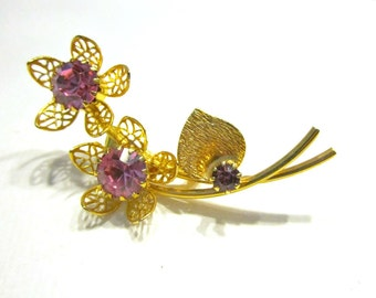 Vintage Pink Rhinestone Flowers Brooch Vintage Jewelry Gift for Her Gift Idea under 10 Card Gift Bow Decoration