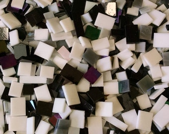 Black White Gray Assorted Stained Glass Mosaic Tiles