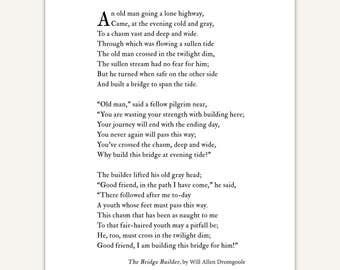 The Bridge Builder Poem Art Print, mentor gift, inspirational typography, graduation gift