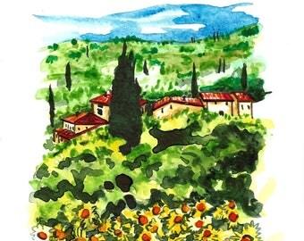 """Original Italian Landscape ART Painting Original Watercolor Landscape """"TUSCANY"""" Italy  Italian Landscape & Scenic"""