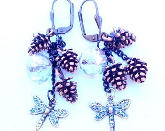 Steampunk Dragonfly, Pinecone, Crystal Earrings