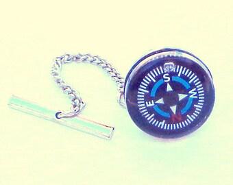 Compass Tie Tack, Mens Accessories, Nautical Tie Tack,Steampunk Tie Tack, Pirate Gear, Steam Punk Goth, Formal Wear, Cosplay, Dark Metal Nor