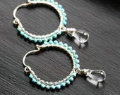 Handmade turquoise beaded hoops, sterling silver, dangle, hoop earrings, boho, blue, Czech glass, Mimi Michele Jewelry