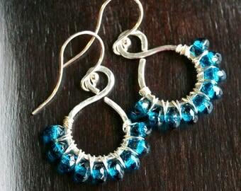 London blue Czech glass dangle earrings, beaded hoop, wire wrapped earrings, sterling silver, dangle, drop, hammered, Mimi Michele Jewelry