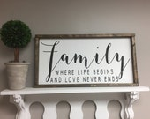 Family where life begins and love never ends Distressed Framed Wood Sign