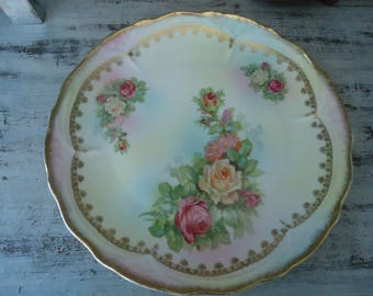Large Vintage Rose Plate