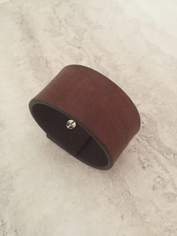 Handmade Brown Leather Bracelet, Essentials Leather Cuff (size 6.75 inches)