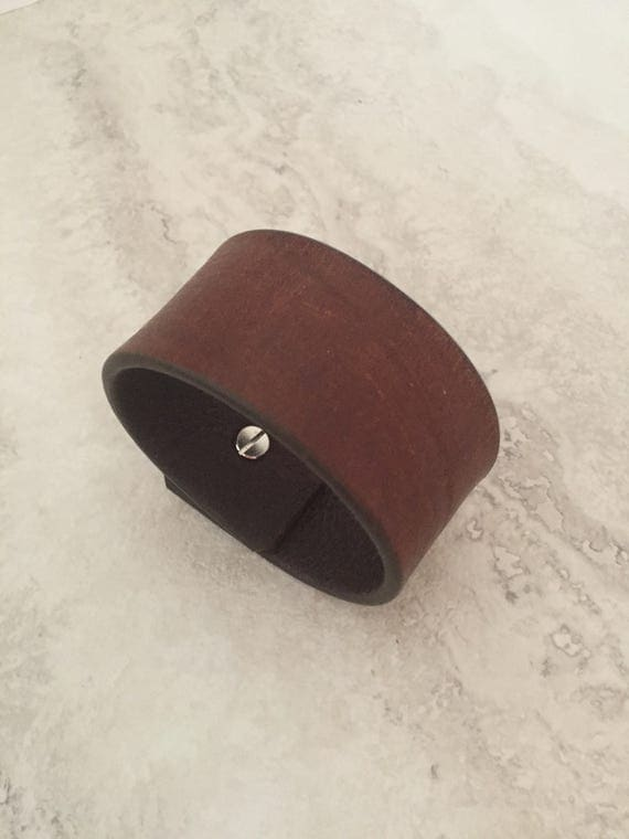 Handmade Brown Leather Bracelet, Essentials Leather Cuff (size 7.0 inches)