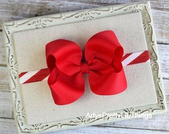 Christmas Bow Headband Candy Cane Bow Hair Clip Boutique Bows Red Bow Headbands Newborn Headband Baby Headbands Girls Hair Accessories