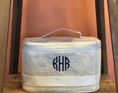 Monogram Linen Cosmetic Travel Train Case, Bridal Party, Wedding Gift, wedding train case, bridal party train case