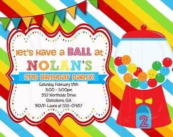 Bubblegum Invitation, Gumball invitation, bubblegum party, bubblegum birthday, candy theme, gumball -Digital File Printable
