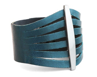 Women's Teal Blue Leather Cuff Bracelet  - the Flare
