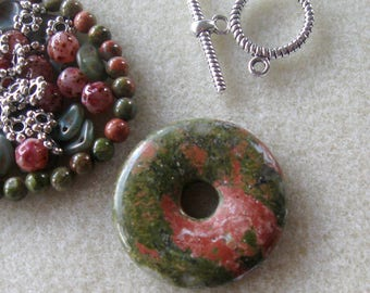 Unakite Pendant and Beads, Czech Glass Beads, DIY Jewelry Kit, Jewelry Making and Design