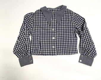 navy blue gingham check blouse 80s vintage girls 8-10 long sleeve button up pointed collar top girls 30 bust
