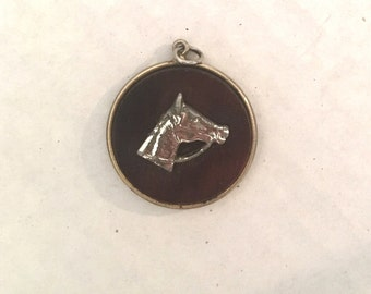 Equestrian Wood and Metal Pendant Vintage Horse Medallion Western Preppy Charm