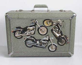 "Mid Century Masterbilt Sky-Rocket Suitcase with Harley-Davidson Adornment ""A Unique Find"""