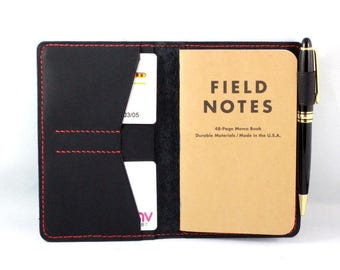 Hand-Stitched Leather Journal cover for Field Notes - Moleskine pocket size in Baseball Glove Black