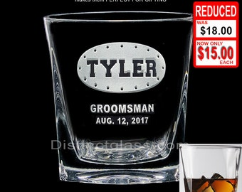 Gifts for Groomsmen - Personalized DOUBLE OLD FASHIONED Rivet Crest Scotch Whiskey Glasses - 12oz Etched Glass - Ships to Canada