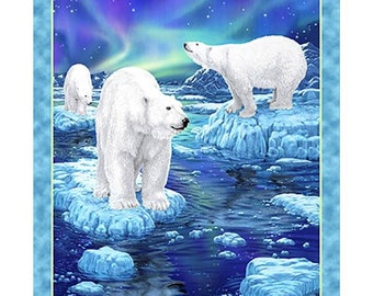Polar Bear Fabric Panel Quilting Treasures Northern Lights Fabric Panel