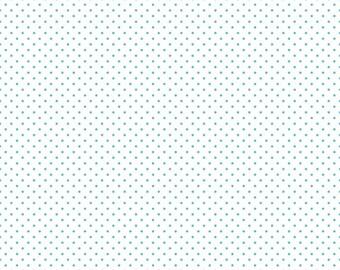 Riley Blake Swiss Dot Aqua Fabric - Aqua Dot Fabric - Aqua Swiss Dot Quilting Fabric - By The 1/2 Yard
