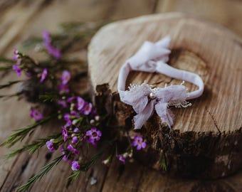 Lavender bow stretchy tie back Headband