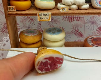 Miniature Dollhouse Cut Prosciutto Meat Leg in 1:12 scale one inch deli display