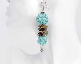 Crocheted blue green wire earring jewelry desire amazing silver abstract women unique exclusive original Regina Doseth handmade Lithuania EU