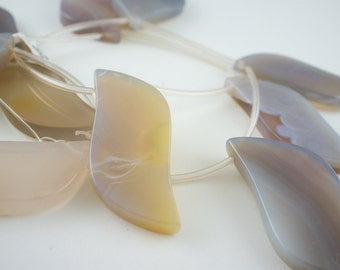 25x48mm Translucent Grey Lace Agate Top-Drilled Leaf Gemstone Beads - 15 inch strand - 10 pieces