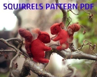 SQUIRRELS PATTERN PDF, Felt Sewing Pattern, Woodland, Squirrel