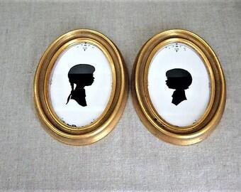 Vintage Framed Disney World Silhouettes /Pair of Vintage Frames with Children's Paper Silhouette Portrait / Vintage Disney World
