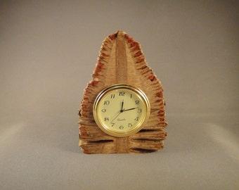"Desk Clock with 2"" Quartz Movement - Banksia Pod Wood"