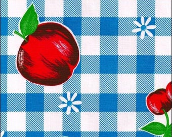 Large Round Oilcloth Tablecloth Blue Gingham and Fruit