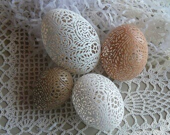 A Collection of Hand Carved Victorian Lace Eggs: Duck, Chicken, Pheasant