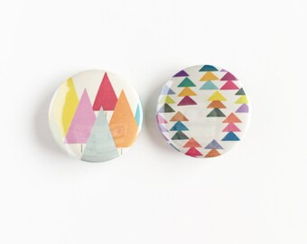 Set of Two 25mm Button Badges - Forest