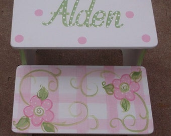 Steps & Stools, Step Stool, Kids Furniture, Pink Floral, childs stool, BENCH, Bathroom Stools, Nursery, Personalized