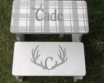 Camo, Hunting, Lodge,Deer antlers, Bathroom Stool, Nursery Decor,Personalized gifts, Childrens wood benches,Kids benches stools, pet stairs