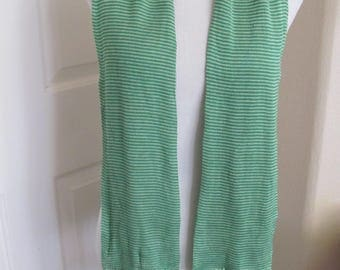"""Rene Lezard // Made in Germany Green 2 Layer Fringed Silk Scarf // 6"""" x 50"""" Long"""