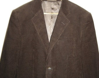 ON SALE Vintage Mens Brown Cords Jacket Blazer Size M to L Cedarwood State 36 Indie Chocolate