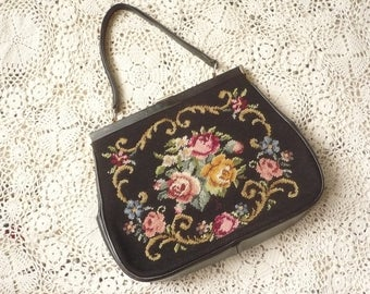1960's Vintage Tapestry Needlepoint Embroidered Gladstone Carpet Bag