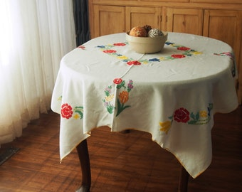 Embroidered Tablecloth Linen Vintage Flowers Birds 52 x 67