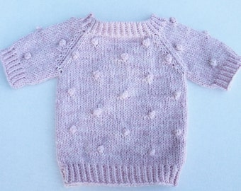 Popcorn Baby Girl Pullover. Hand Knit Baby Girl Shortsleeed Pullover. Knit Baby Popcorn Sweater. Pink Popcorn Baby Sweater. Bobbles pullover