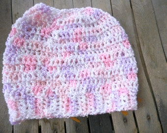 The Raspberry Ice Messy Bun Beanie Hat. acrylic crocheted handmade beanie cap