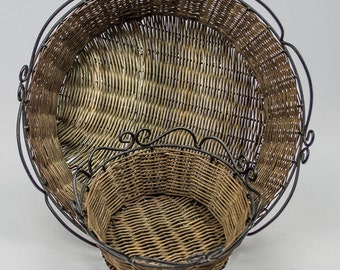 Basket Pair Rustic Wicker and Wire Storage Baskets