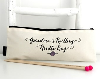 Grandma's Knitting Needle Bag | Personalised Knitting Needle Case | Nan's Knitting | Knitting Gift